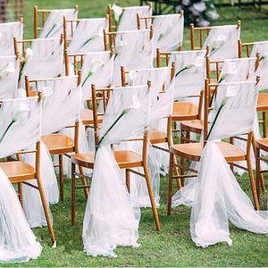 Chaise De Mariage Romantique Ceintures Flowy Tulle Chiavari Chaise Ceintures Custom Made Blush Blanc Ivoire De Mariage Parti Décorations D'événement 150 * 200 cm