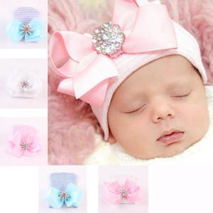 Sombrero de bebé recién nacido Bebé niña gorra de punto Arco grande Brillante Cristal Piedra Raya Cobertura sólida Cap 6