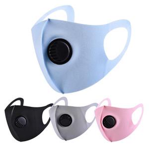 Seda de hielo FaceMask con la respiración Máscaras Válvula lavable reutilizable mascarilla anti-polvo de protección Negro de reciclaje diseñador de la máscara de la máscara de la válvula de adultos