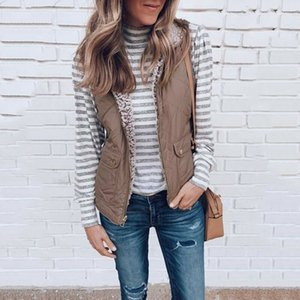 Vente bien New femmes manches d'hiver Veste Manteau chaud Gilet Gilet Veste réversible Rentable Casual