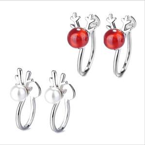 Pendientes de Cuerno de las muchachas linda 925 pendientes de la perla de plata de ley clip ciervo femenino aretes sin orejas de regalo de Navidad
