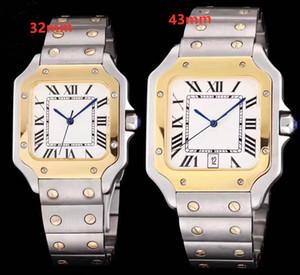 2019 nuevo reloj de acero inoxidable de triple movimiento de la parte superior del cuarzo de los relojes de los hombres de las mujeres de lujo y con los relojes de los amantes hebilla de mariposa 32mm / 43mm