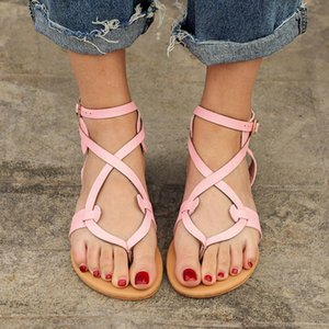 Vintage Gladiator Sandals Summer Flat Platform Shoes Woman Buckle Strap Flip Flops Women Shoes Plus Size 35-43 XWZ4982
