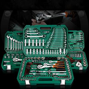 Nuevo kit de herramientas de reparación de automóviles para el hogar general con caja de herramientas de plástico, caja de almacenamiento, enchufe, llave de trinquete, destornillador, juego de herramientas manuales