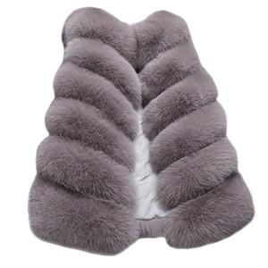Faux Fur Coat Womens Ladies Sleeveless Color Waistcoat Solid Loose Vest Warm Overcoat Jacket Coat Outerwear Loose Winter 19Oct28