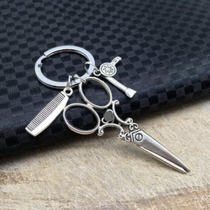 Friseur beliebt Schere Kamm Fön Frisur Waschen Schlag Keychain-tibetischen Silber Charm-Anhänger Schlüsselanhänger Ring-DIY Keychain 426