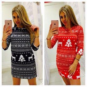 Noel Partisi Etek Lady Moda Seksi Polyester Elyaf Orta Kol Kırmızı Elk Baskılı Dikiş Casual Bayan Elbise 17yd hh