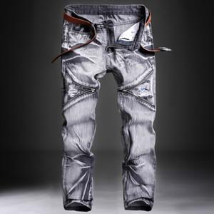 Lavado oscuro gris jeans para hombres Pantalones de diseño delgado acanalada hombres rectos de los pantalones vaqueros de la vendimia Moto Pant