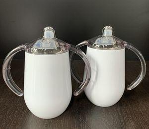 10 أوقية التسامي سيبي كوب المقاوم للصدأ مقبض زجاجة الحليب طفل البيض بهلوان معزول القهوة القدح الشحن عن طريق البحر a12