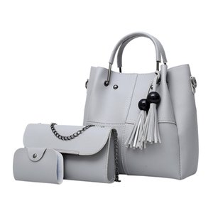 Fashion ladies bag three-piece bag wood  tassel handbags solid color shoulder beaded mother Dropship Y604