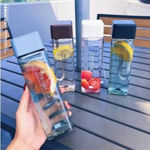 Cute New Square Tea Milk Fruit Water Cup 450ml for Water Bottles drink with Rope Transparent Sport Korean style Heat resistant