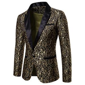 Großhandel Designer Slim Fit Blazer 2019 Herbst-Winter-Herren Blumen Blazer Blumenabendkleid Blazer Elegante Hochzeits-Blazer und Anzugjacke