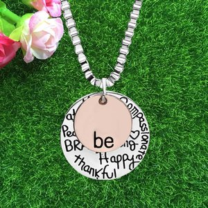 Be Necklace Graffiti BE Brave Happy Strong Peace Thankfull Free Necklace Coin Pendant for Women Fashion Jewelry