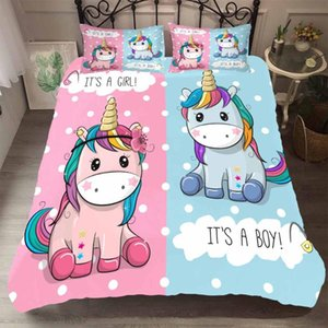 BEST.WENSD High-grade fabric Unicorn Beding AU US Winter bedding set cotton soft Duvet cover set Cute cartoon bedding 3pcs