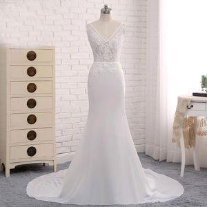 Menos de US $ 100 Simples Projetado 2020 vestidos de casamento Sexy Mermaid V Neck Low Backless apliques Satin Long Beach Verão Boho vestidos de noiva BM1680