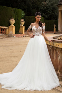 Elegant Bateau Lace Appliqued A-line Wedding Dress 2019 Long Sleeve See Through Beach Boho Cheap Plus Size Bridal Gown