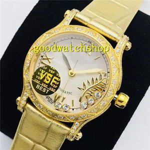 28800 18K Swiss Happy Sport Diamond Watch Femme Femme Cristal Gold Montre Automatique 9015 VPH Diamant Sapphire Diamant VS Bezel Cuir Strap xehms