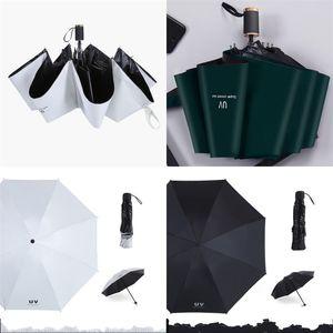 Uv Guarda-Sol Preto Gum Sunscreen Manual Tri-Folded Umbrella Ultravioleta-À Prova de Todos Os Tempos de Umbrella Com Várias Cores de Venda Quente 14 11cx J1