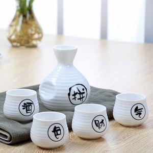 5шт / Set Японского Саке Набора вино Урожай Керамических бутылки вино кувшин ликер Духи Сепаратор с пробкой Drinkware кубкового Bar Set