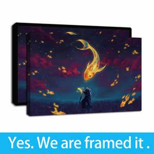Framed Artwork Cat Dream and Goldfish Clock Animal Oil Paintings HD Print on Canvas Wall Art Paintings Picture Poster for Home Decor