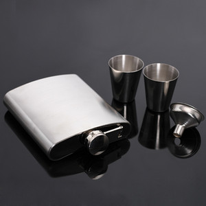 7oz 200мл нержавеющей стали фляжка Set Gift Box Man Hip Колбы с воронкой Mini Cup Виски Портативный Drinkware бутылок вина VF1318 T03