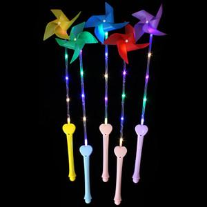 Niños LED Flash maneja rojo luminiscente molino de viento juguetes de colores con luces de plástico molinos de viento de juguete nueva llegada 2 4hpa L1