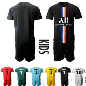 아이들 2020-21 디 마리아 골키퍼 사라비아 축구 저지 PSG K. 나바스 # 1 셔츠 홈 네이 마르 JR MBAPPE 키트 세트 균일 한 어린이 축구 유니폼
