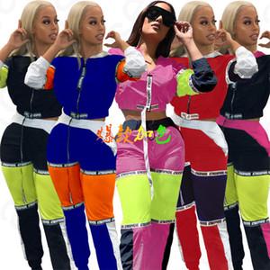 Femmes Patchwork Survêtement printemps manches longues Zipper Jacket Crop Top Pants 2 pièces Vêtements Ensembles Lady Manteau Outfit Pantalons Sport Costume D4204