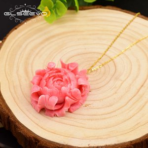 Glseevo Original Design 925 Sterling Silver Coral Flower Pendant Necklace For Women Party Fine Jewelry Customizable Gn0072 Y19061003