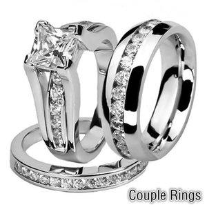 His e Hers homens de Aço Inoxidável banda Anel mulheres Princesa Anel De Casamento Set e Eternity Casal de Casamento anel Tamanho 5-11 #