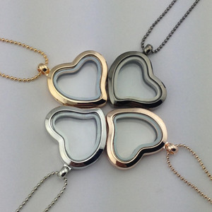 Heart Floating Locket Gold Frame Heart Memory Floating Lockets pendants with 70 cm Chain DIY jewelry for Women drop Shipping