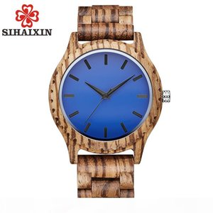 SIHAIXIN Wooden Watch Male Gift Top Blue Face Zebra Bamboo Wood Watch Mens 2018 New Quartz Clock With Free Shipping
