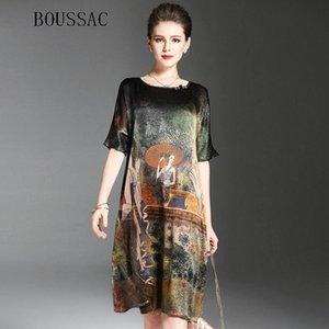 Peinture ethnique Vintage Design Robe Femmes d'été demi-manches souples en soie Robes femme élégante Marque Vestidos O-cou Taille Plus Y190425