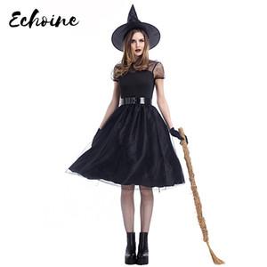 Échoine Plus Taille M-XXXL Femmes Costume De Sorcière De Fil Noir Gothique Adulte Halloween Partie Cosplay Fantaisie Magicien Robes De Sorcière
