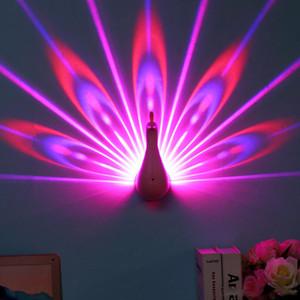 الطاووس الصمام ليلة الخفيفة العارض USB شحن التحكم عن بعد الصمام اللون غرفة نوم الديكور الطاووس نمط العارض مصباح السرير