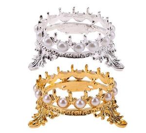 Nail perla de la corona pluma del arte del cepillo del estante del sostenedor del soporte de peso ligero Mujeres manicura Herramientas de Oro / Plata Nail Brush Herramientas para Manicure