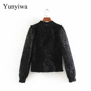 2019 Women's New Animal Print Transparent Shirt Womens Blouse Tops Turtleneck Blouses Clothes Blusas Camisas Mujer