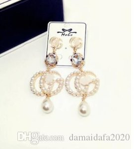 Fashion high quality pearl crystal pendant letters female simple trend earrings ear clip jewelry accessories