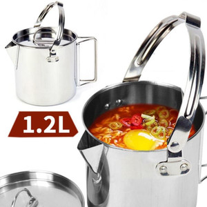 1.2 л портативный открытый нержавеющей стали пикник чайники альпинизм кемпинг кипятить воду висит горшок с крышкой посуда горячий суп кофе чайник