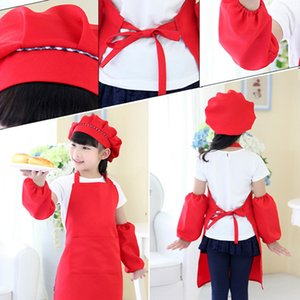 Kids Full Apron Bib Set with Pocket and Hat Sleeves Craft Kitchen Chef Cooking Art Children Diy Apparel
