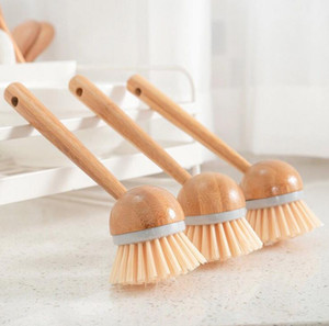 100pcs / lot Natural Bamboo punho longo escova de cozinha Dish Pan Pot lavagem escova de limpeza Casa Cozinha Produtos de Limpeza SN859