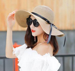 fita de seda das mulheres Hat Cap Sun Beach Palha Grande Floppy Folding aba larga Cap praia de Panama Hats