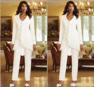 Tre pezzi Bianco Avorio guaina eleganti Madri Pantalone Tute Custom Made increspature Chiffon Madre del Abiti da sposa a maniche lunghe