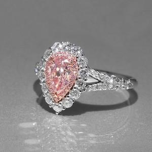 Розовый слеза CZ Алмаз свадебный подарок кольцо 925 стерлингового серебра покрытием капли воды обручальные кольца розничная коробка набор для женщин