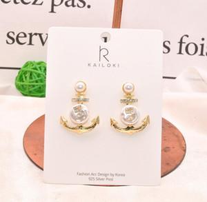 S925 pines de plata retro sentido irregular irregular perla de diamantes en forma de ancla aretes atmosféricos pendientes de diamantes de imitación digital