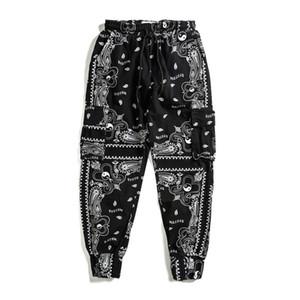 Bandana Calça de Jogging Homens Mulheres elástico na cintura Side uns bolsos de calças calças masculinas