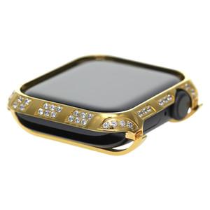 2019 new hot selling relógio de ouro case para apple watch series 4 liga de metal capa protetora de cristal de strass diamante caso moldura 40mm 44mm