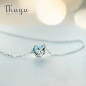 Thaya Mermaid Köpük Kabarcık Tasarım Kristal Kolye S925 Gümüş Mermaid Kuyruk Mavi Kolye Kolye Kadınlar Için Zarif Takı Hediye Y19051803