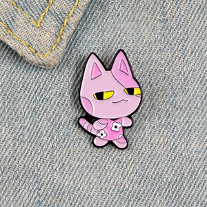 Pink cat enamel pin brooches for women cartoon animal badge flower dress lapel pin clothes shirt backpack jewelry gift for kids
