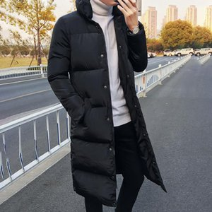 Male Casual Autumn Winter Warm Single-Breasted Coat Man Slim Parka Hooded Down Jacket Solid Color Outerwear